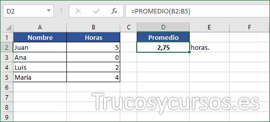Celda D2 mostrando 2,75 como la media de las horas en Excel