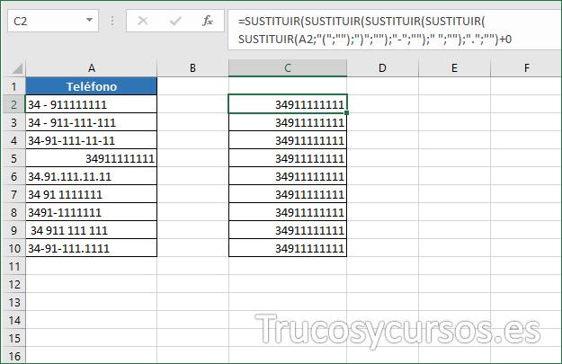 Hoja de Excel mostrando los números sin espacios ni caracteres.