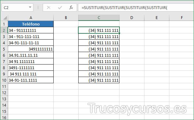 Hoja de Excel mostrando los números con formato (34) 911 111 111.