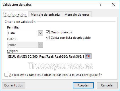 Ventana de validación con lista para el tipo de base de cálculo width=