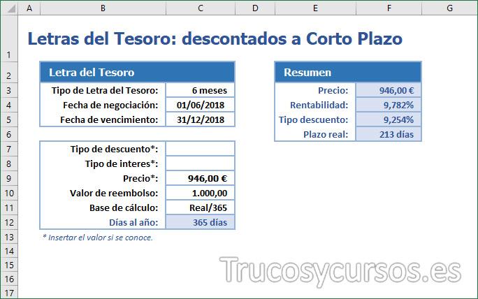 Plantilla Excel: Letras del Tesoro a corto plazo