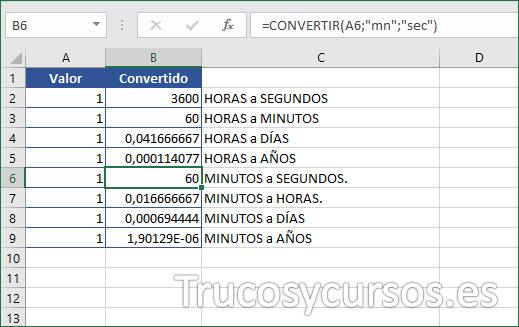 Rango A6:A9 con conversión desde minutos