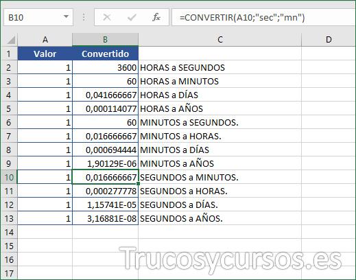 Rango A10:A13 con conversión desde segundos