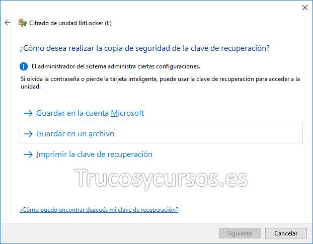 Bitlocker ventana ¿Cómo desea realizar la copia de seguridad de la clave de recuperación?