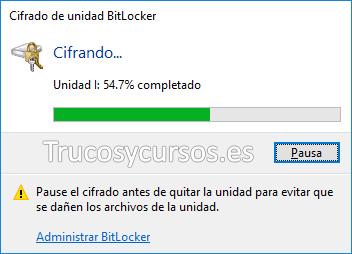 Bitlocker ventana de progreso de cifrado