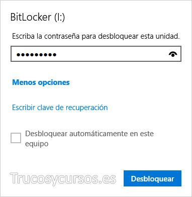 Ventana de desbloquear BitLocker unidad USB