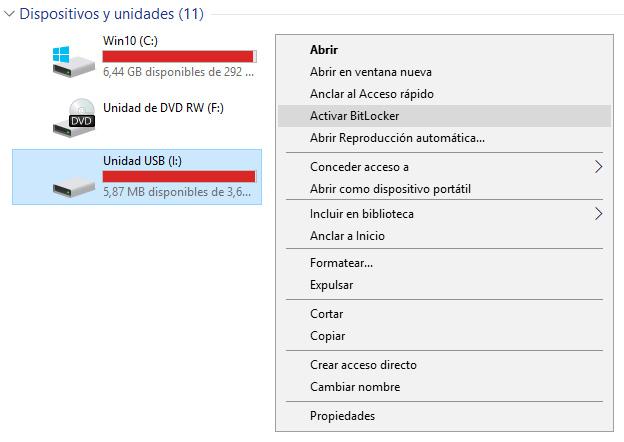 Activar BitLocker en unidad USB