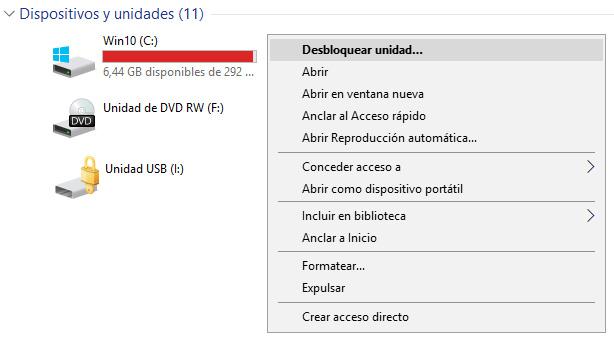 Ventana BitLocker desbloquear unidad USB