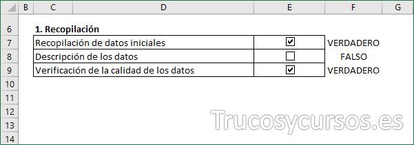 Hoja Excel con las casillas de verificación insertadas