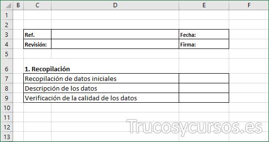 Hoja Excel con los encabezados y rótulos del Checklist