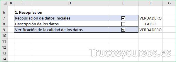 Hoja Excel con formato al activar las casillas de verificación