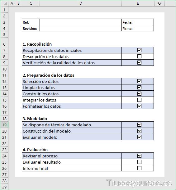 Vista de checklist en Excel