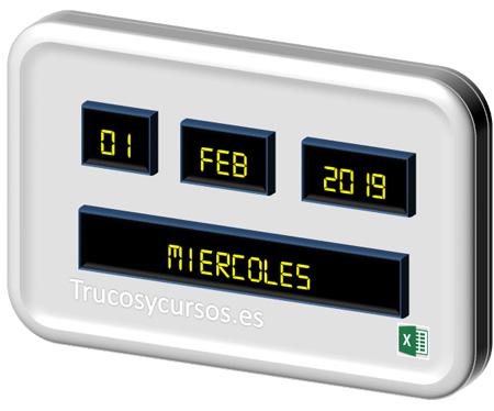 Calendario perpetuo para el día de la semana en Excel