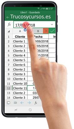 Móvil con Excel editando una celda