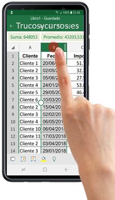 Móvil con Excel seleccionando una columna