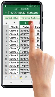 Móvil con Excel cambiando el tamaño de columna