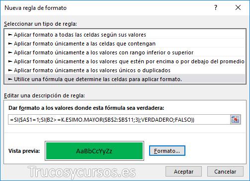 Ventana de nueva regla de formato Excel