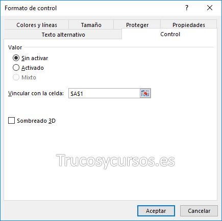 Ventana de formato de control Excel