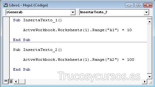 Ventana del módulo de macros VBA Excel