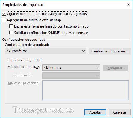 Casilla de cifrar el contenido de mensajes y datos adjuntos