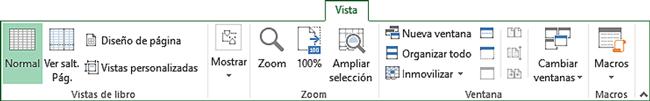 Pestaña Vista de cinta de opciones Excel