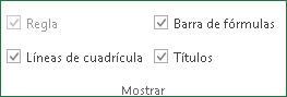 Comandos del Grupo mostrar, ficha: Vista Excel