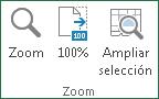 Comandos del Grupo zoom, ficha: Vista Excel