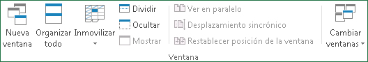 Comandos del Grupo ventana, ficha: Vista Excel