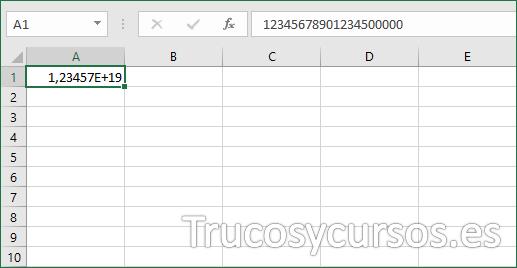 Celda Excel mostrando el valor como formato científico