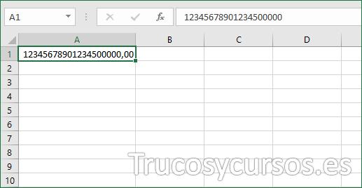 Celda Excel mostrando el valor incorrecto