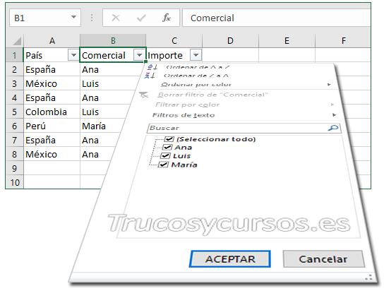 Atajos de teclado al trabajar con filtros Excel