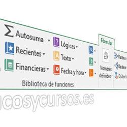 La pestaña formulas de Excel