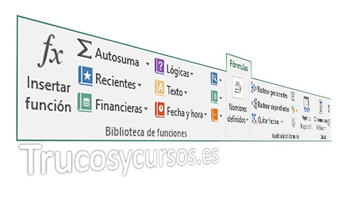 La pestaña fórmulas de Excel
