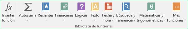 Comandos del Grupo biblioteca de funciones de libro, ficha: fórmulas Excel