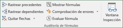 Comandos del Grupo auditoría de fórmulas de libro, ficha: fórmulas Excel