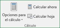 Comandos del Grupo cálculos de libro, ficha: fórmulas Excel