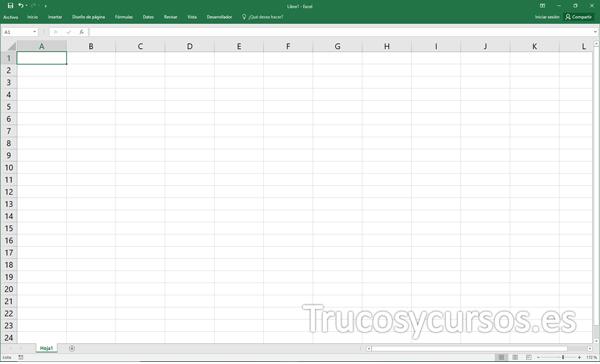 Excel con vista de mostrar pestaña