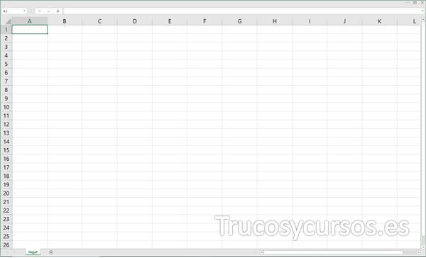 Excel con vista de ocultar automáticamente la cinta de opciones