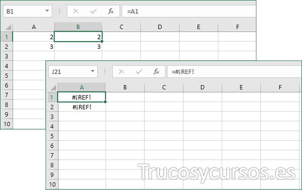 Fórmula Excel con error #¡REF!