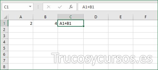 Fórmula Excel sin símbolo de igual