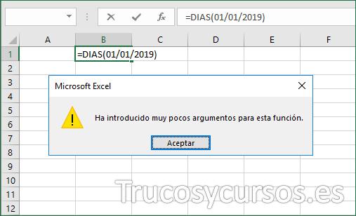 Función Excel mensaje de error de pocos argumentos