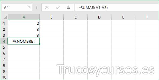 Función Excel con error #¡NOMBRE?
