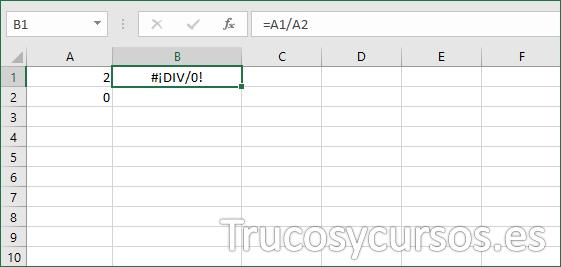 Fórmula Excel con error #¡DIV/0!