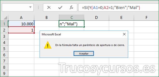 Función Excel mensaje de error en paréntesis