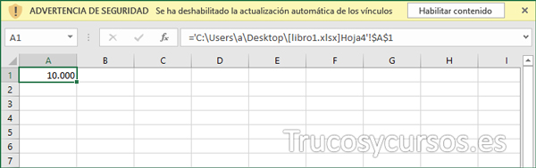 Hoja Excel con mensaje de advertencia