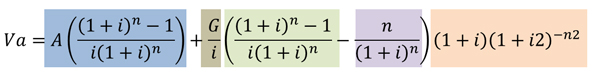 Fórmula Va =(A*(((1+i)^n)-1)/ (i*(1+i)^n)+ (G/i)*((((1+i)^n)-1)/ (i*(1+i)^n)-n/((1+i)^i)))* ((1+i)*(1+i2)^-n2)