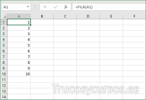 Numeración Excel en rango A1:A10 (filas) con función FILA