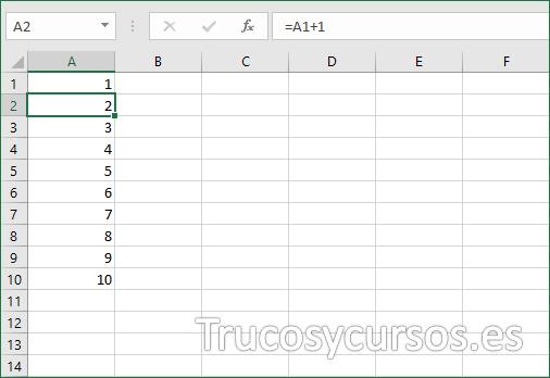 Numeración Excel en rango A1:A10 (filas) con suma de valores