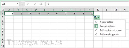 Numeración Excel en rango A1:A10 (columnas) con series