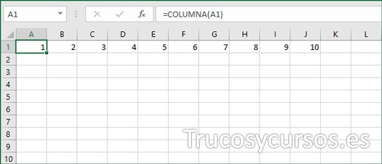 Numeración Excel en rango A1:A10 (columnas) con función COLUMNA